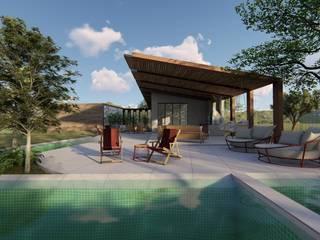fachada fundos e piscina: Casas do campo e fazendas  por Bonomiveras Arquitetura Urbanismo e Interiores