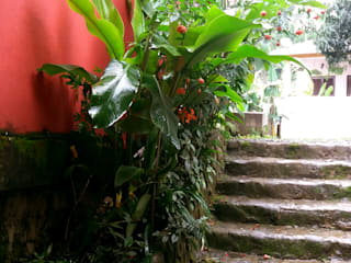Escada em Pedra e paisagismo: Escadas  por Oria Arquitetura & Construções