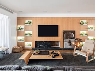 Apartamento CKO Salas de estar modernas por DAVID ITO ARQUITETURA Moderno