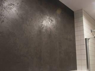 Ciemny beton w łazience Minimalistyczna łazienka od Rawtype Minimalistyczny