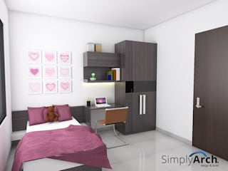 A-House Children Bedroom Wardrobe and Studying Table:  oleh Simply Arch.,