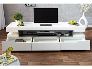 Decordesign Interiores SalasMuebles de televisión y dispositivos electrónicos Tablero DM Blanco