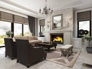 """Дизайн-проект загородного дома в КП """"Андреевский парк"""" Гостиная в классическом стиле от Style Home Классический"""