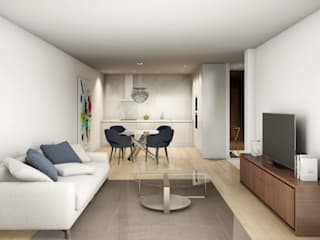 Sala de estar e jantar : Salas de estar escandinavas por Alma Braguesa Furniture