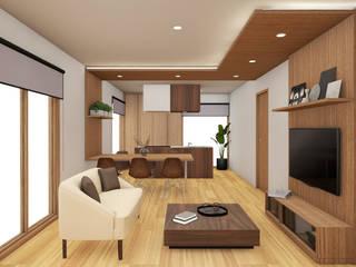 HOUSE ŌKUBO: Soggiorno in stile  di Studio Maiden