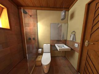 pousada e restaurante: Banheiros  por DE Arquitetura e Decoração,Rústico