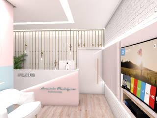 Consultório Nutricional Vila 03 Arquitetura Edifícios comerciais escandinavos MDF Rosa