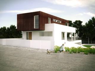 casa R_vista da rua: Casas unifamilares  por Emprofeira - empresa de projectos da Feira, Lda.