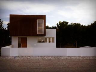casa R_vista da rua II: Casas unifamilares  por Emprofeira - empresa de projectos da Feira, Lda.