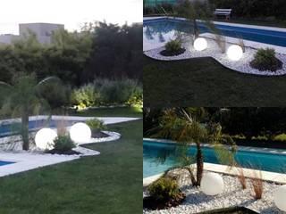 Diseño de canteros para piscinas: Jardines con piedras de estilo  por Paisajismo en Canning