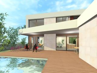 Vista desde la piscina al salón:  de estilo  de Loft 26
