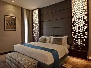 Stylish Bedroom with cnc cutting grills...:   by Archspace Interio