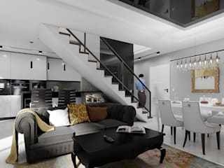 Złoty i czarny: styl , w kategorii Salon zaprojektowany przez Abrys projektowanie wnętrz