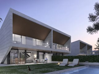 Promoción viviendas pareadas: Casas adosadas de estilo  de ARQZONE 3D+Design Studio