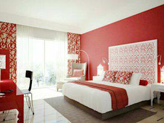 Bedroom in red schades:  Bedroom by AK INTERIOR ARCHITECTS