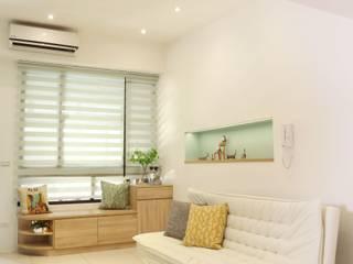 扎西德勒-空間優化的北歐簡約風透天厝:  客廳 by 酒窩設計 Dimple Interior Design