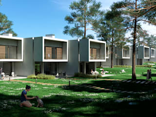 Residencial de viviendas pareadas en Cádiz.: Casas adosadas de estilo  de ARQZONE 3D+Design Studio