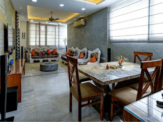 Living room with Dining Area:  Living room by shritee ashish & associates