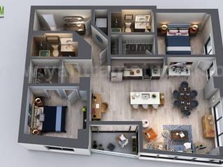 Unique Residential Apartment 3D Floor Plan Rendering Ideas by Yantram 3D Virtual Floor Plan Design, San Diego - USA Yantram Architectural Design Studio Modern