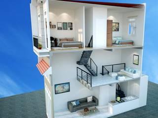 Thiết Kế Nhà Ống 2 Tầng có gác lửng diện tích 70 m2:   by Công Ty Wedo