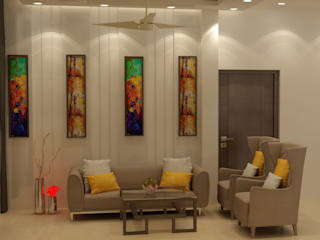 Vibrant colour schemes for living room :  Living room by MAG Consultancy