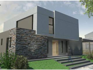 | FACHADA FRONTAL: Casas unifamiliares de estilo  por modulo cinco arquitectura