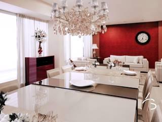 LIVING CONTEMPORÂNEO COM TOQUE CLÁSSICO Salas de jantar clássicas por Adriana Scartaris: Design e Interiores em São Paulo Clássico