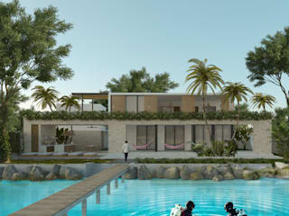 Casa Mara - Bacalar, Quintana Roo.: Casas de campo de estilo  por Obed Clemente Arquitecto