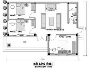 Ấn tượng thiết kế nhà cấp 4 3 phòng ngủ 1 phòng thờ truyền thống:   by Công Ty Wedo