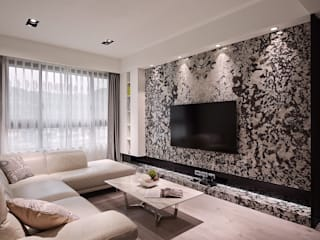 日光 隱。低調奢華 採光宅 现代客厅設計點子、靈感 & 圖片 根據 芸匠室內裝修設計有限公司 現代風
