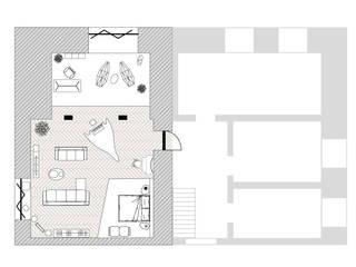 Полигонально-парящее зонирование.: Гостиная в . Автор – SLASTNIKOV