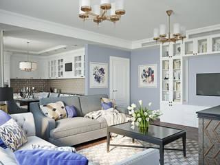 Трехкомнатная квартира в стиле современная классика: Гостиная в . Автор – L.DesignStudio