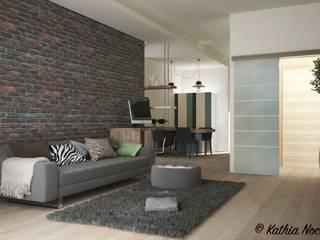 غرفة المعيشة تنفيذ Nocera Kathia rendering progettazione e design,