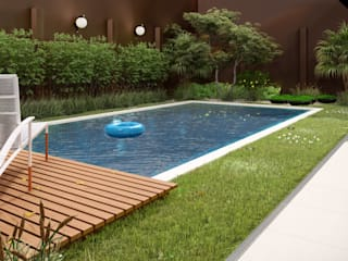 Studio MP Interiores Garden Pool Wood Wood effect