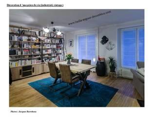 Décoration et agencement d'une pièce de vie. Style indutriel. Salon industriel par Lucile Tréguer, décoratrice d'intérieur Industriel
