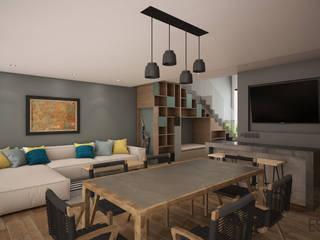 Residencia Temozón 16: Salas de estilo  por Escaleno Taller de Diseño