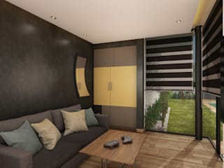 Residencia Temozón 16: Salas multimedia de estilo  por Escaleno Taller de Diseño