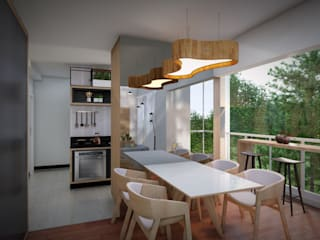 Studio MP Interiores Minimalist dining room MDF Wood effect