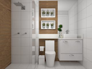 Banheiro suite : Banheiros  por Studio MP Interiores ,Moderno Cerâmica