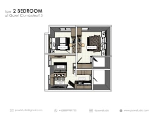 Galeri Cimbuleuit III - Tipe 2 Bedroom Maple:   by POWL Studio
