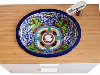 Farbiges Waschbecken mit mexikanischem Design zum einbauen:   von Mexambiente e.K.