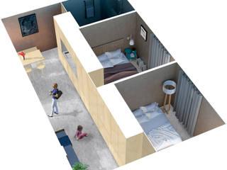 2 Apartamentos: Quartos  por COMO Arquitectura,Minimalista