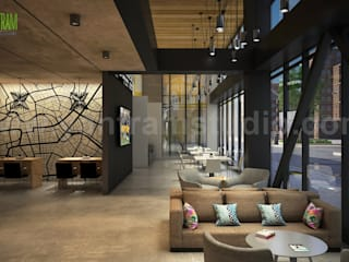 Architectural Rendering Studio of Exterior Roadside Apartment by Yantram Architectural Visualisation Studio, Dubai - UAE Modern Yemek Odası Yantram Architectural Design Studio Modern