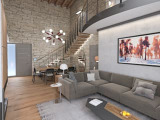 Progetto villa smart: Soggiorno in stile  di studiosagitair