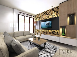 viku Scandinavian style living room Wood Wood effect