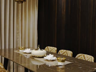 monochrome Minimalist dining room by shades - design studio by shweta Minimalist