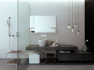 Интерьер дома в коттеджном поселке «Ясная Поляна» — 2: Ванные комнаты в . Автор – Архитектурная студия Чадо