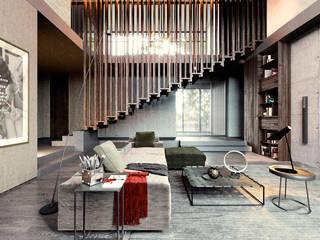 Интерьер дома в коттеджном поселке «Ясная Поляна» — 2: Гостиная в . Автор – Архитектурная студия Чадо