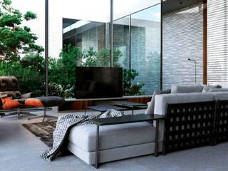 Интерьер жилого дома в Юрмале: Гостиная в . Автор – Архитектурная студия Чадо