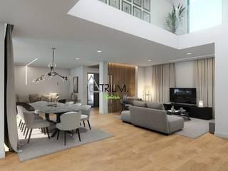 Single house - Cascais:  Living room by Atrium Projetos e Construção